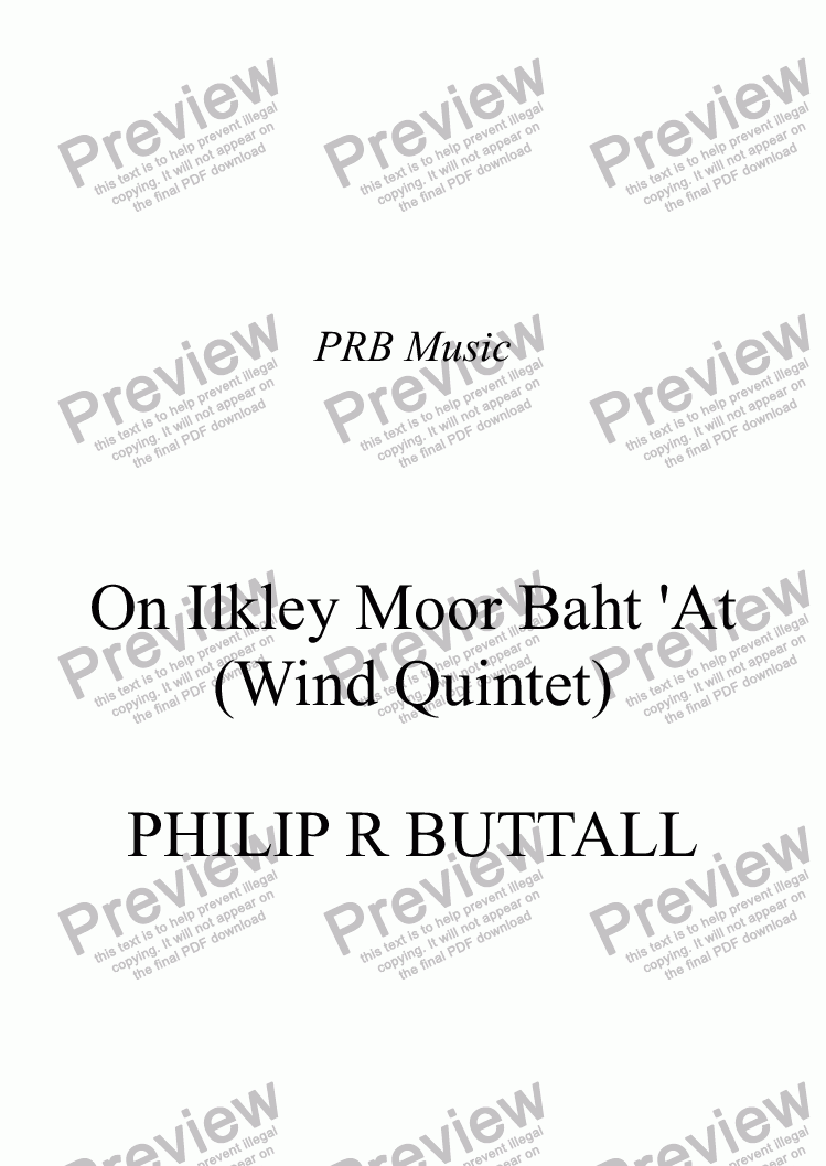 page one of On Ilkley Moor Baht 'At (Wind Quintet)ASALTTEXT