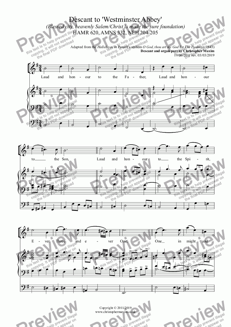 page one of Descant to 'Westminster Abbey' (Blessed city, heavenly Salem/Christ is made the sure foundation) HAMR 620, AMNS 332, NEH 204-205ASALTTEXT