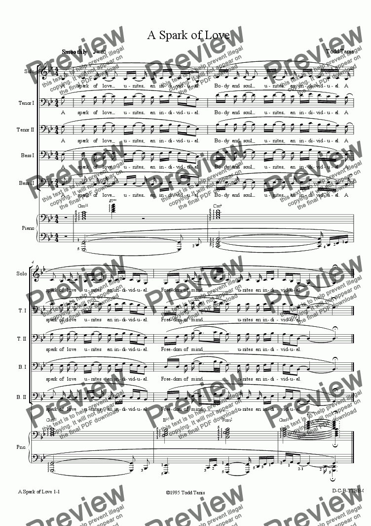 page one of Spark of Love, A [piano-vocal solo-TTBB]