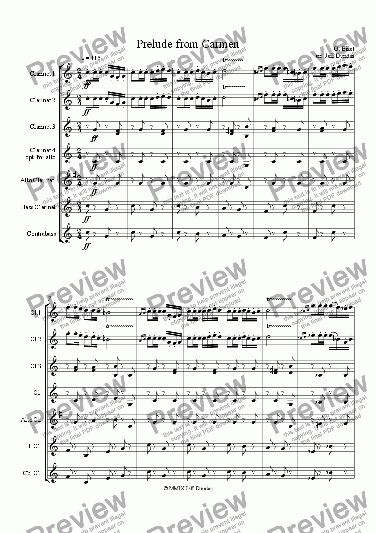 page one of Prelude from Carmen