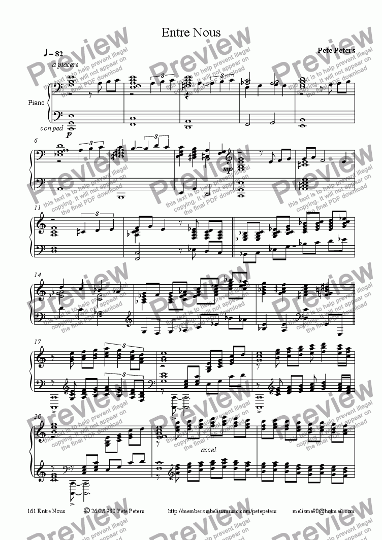 page one of Entre Nous [piano solo]