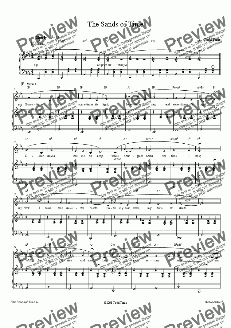 page one of Sands of Time, The [piano-vocal]ASALTTEXT