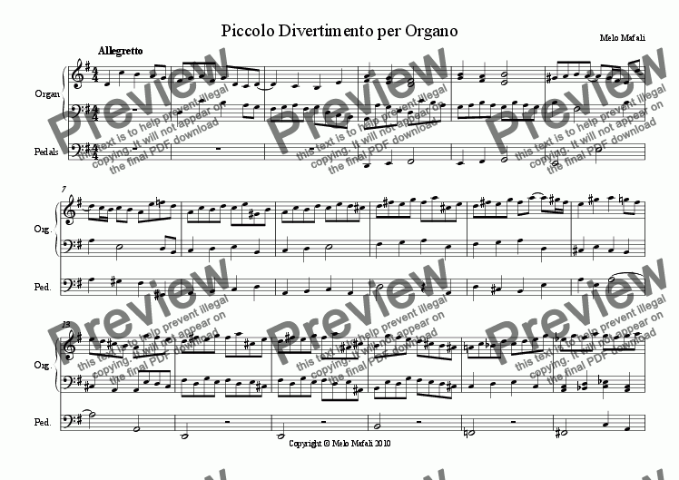page one of Piccolo Divertimento per Organo