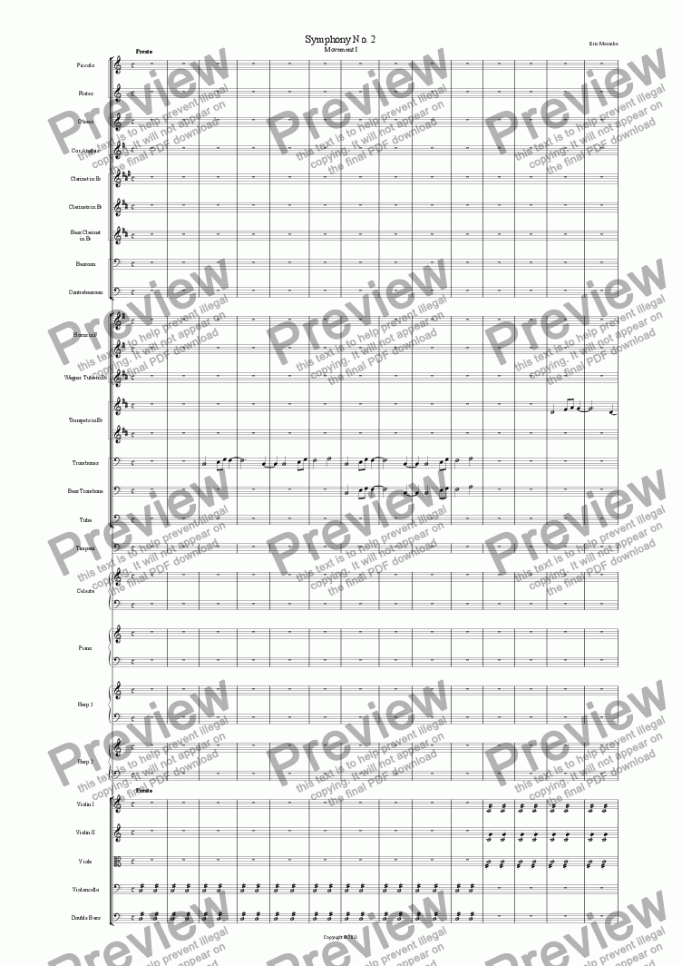 page one of Symphony No. 2 in C Major, Movement IASALTTEXT