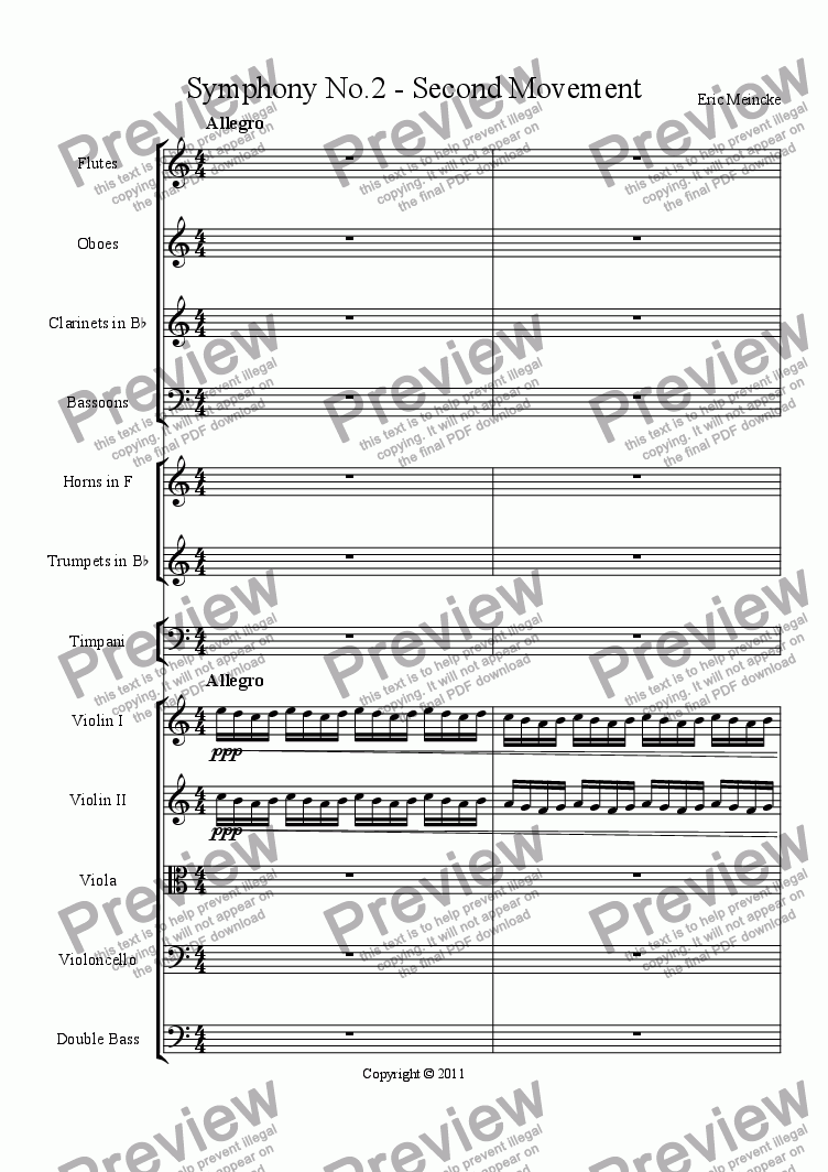 page one of Symphony No.2 in C Major, Movement II