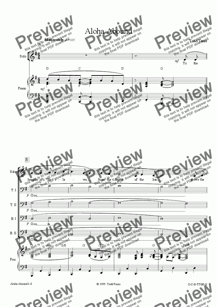 page one of Aloha Abound [piano-vocal solo-TTBB]