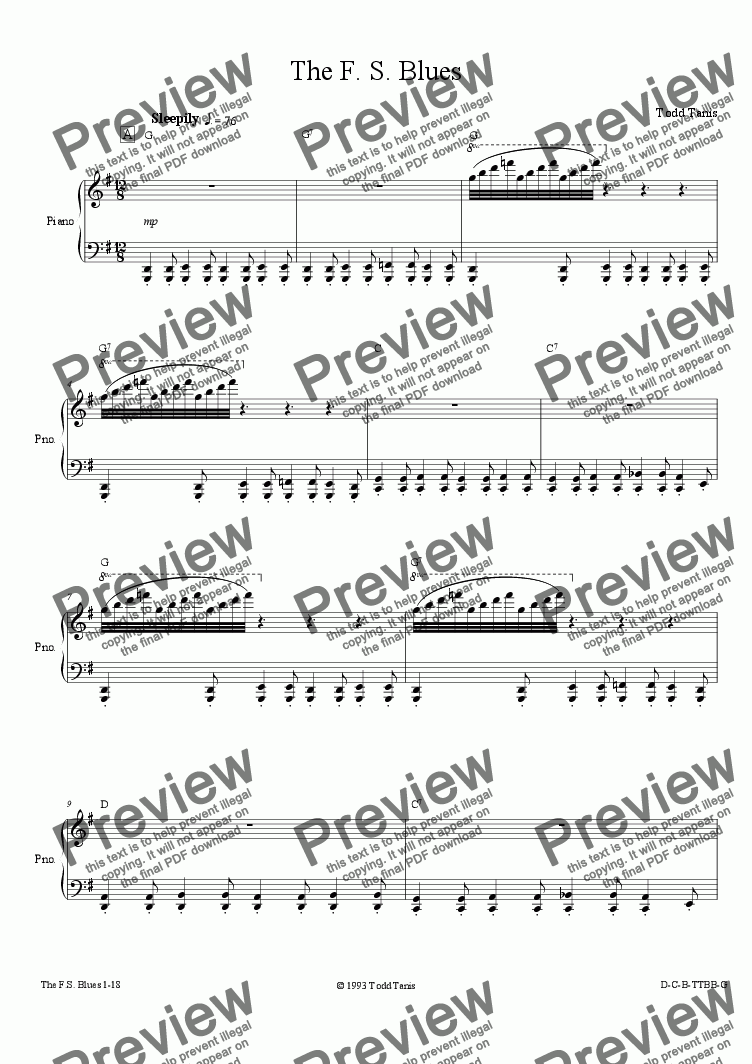 page one of F. S. Blues, The [piano-vocal solo-TTBB]