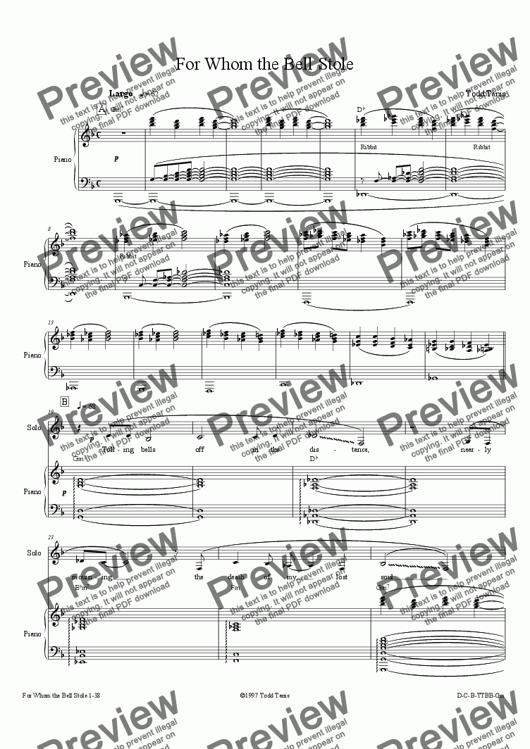 page one of For Whom the Bell Stole [piano-vocal solo-TTBB]