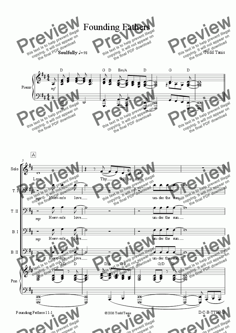 page one of Founding Fathers [piano-vocal solo-TTBB]