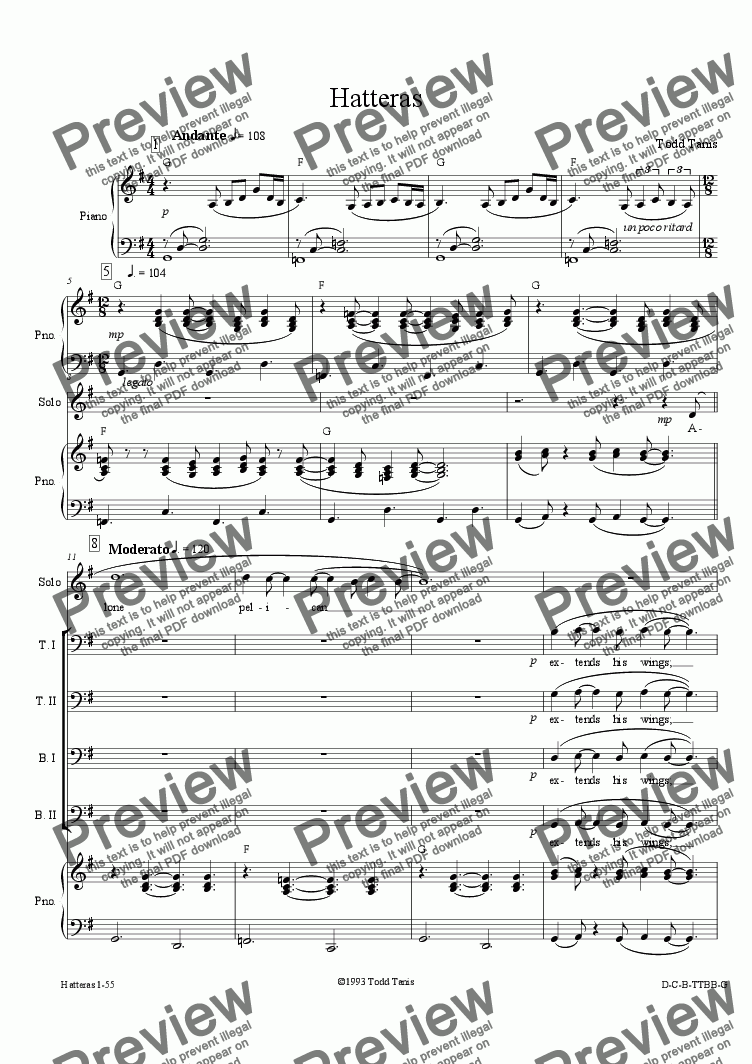 page one of Hatteras [piano-vocal solo-TTBB]