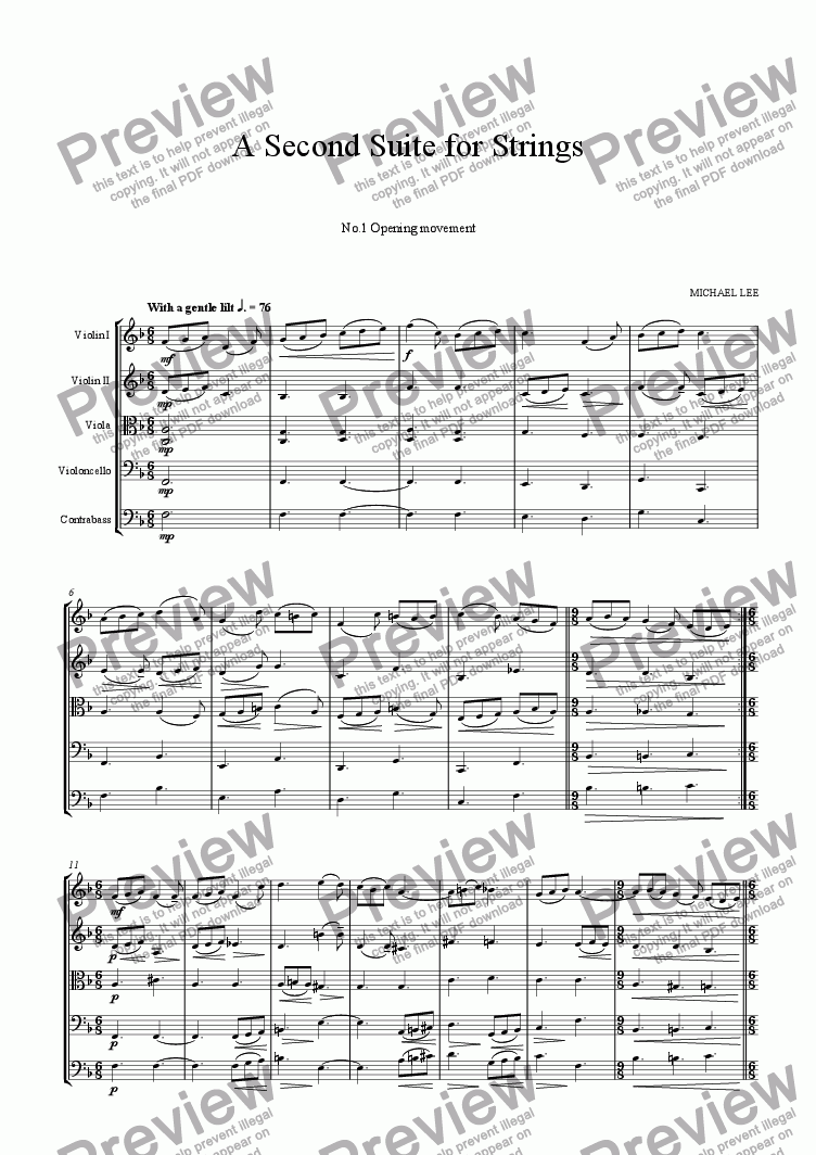 page one of A Second Suite for StringsASALTTEXT