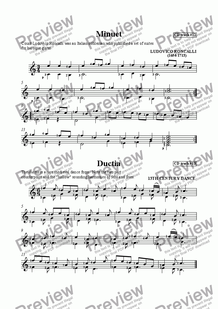 page one of Minuet by Roncalli and Ductia by Anonymous