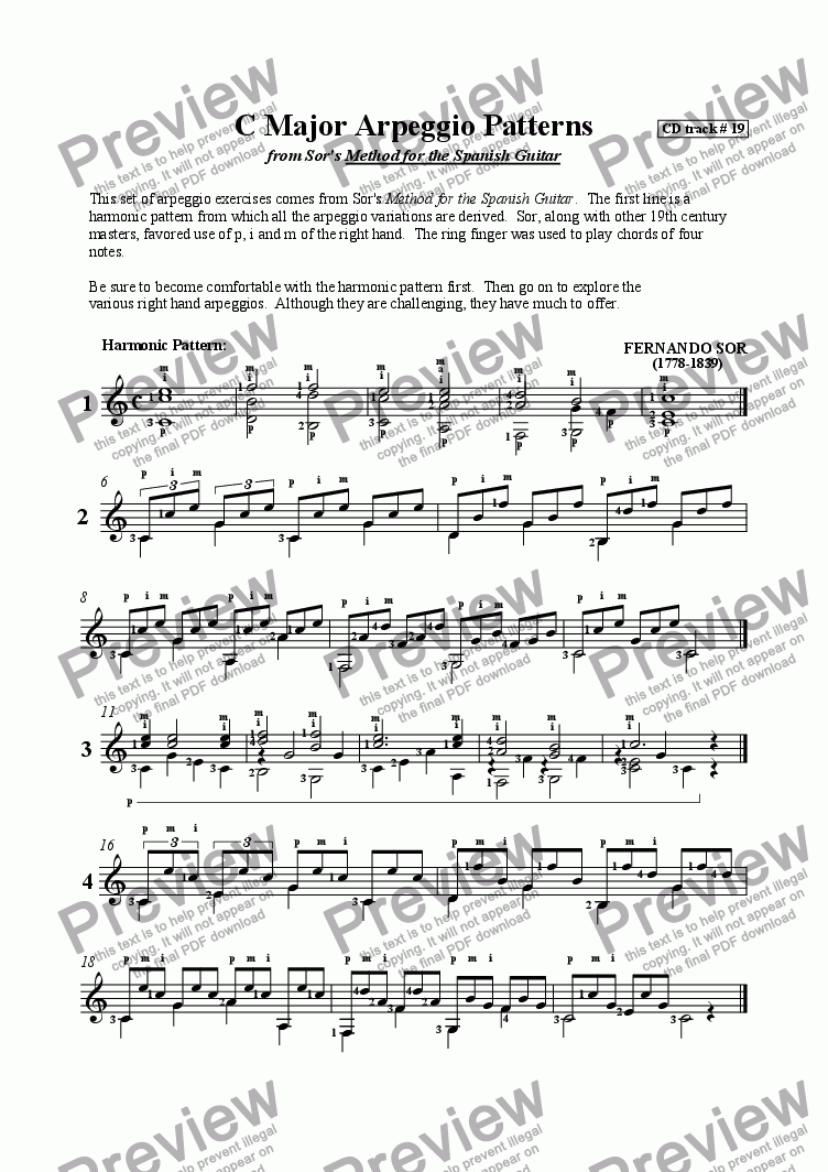 page one of C Major Arpeggio Patterns
