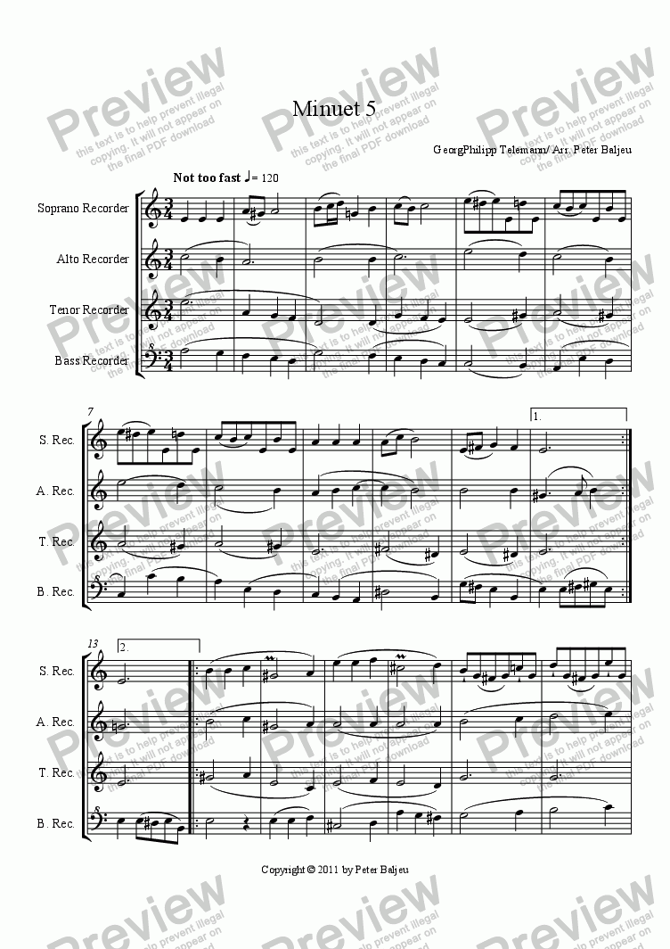 page one of Minuet 05 (SATB recorders)ASALTTEXT