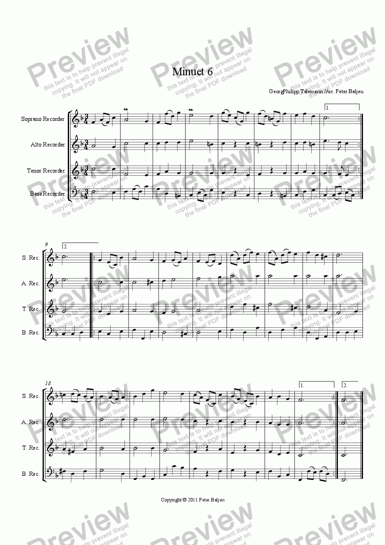 page one of Minuet 06 (SATB recorders)ASALTTEXT