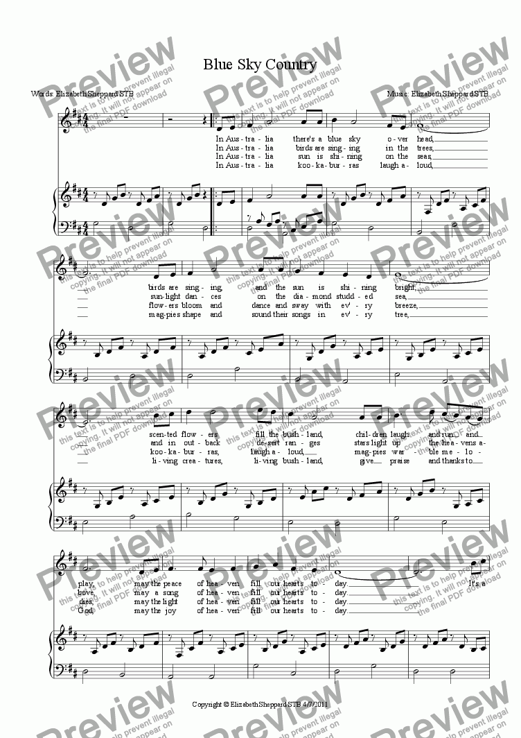 page one of Blue Sky CountryASALTTEXT