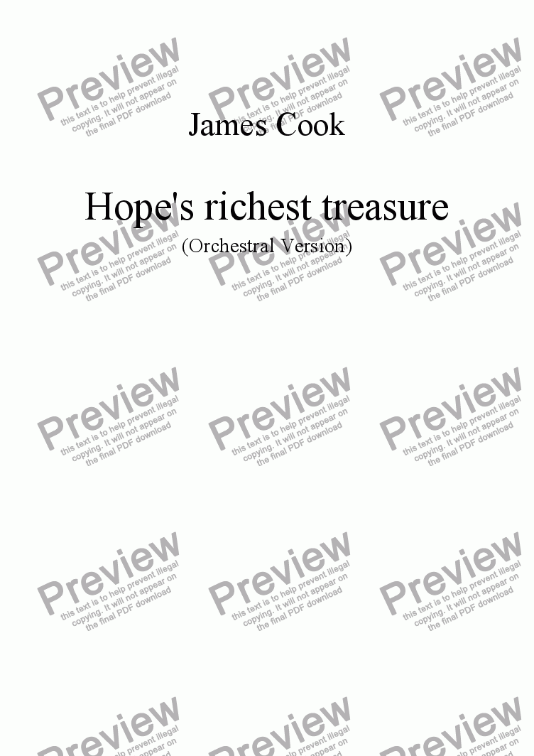 page one of Hope's richest treasure