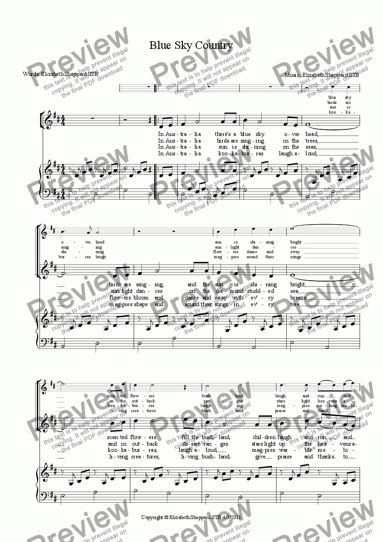 page one of Blue Sky Country (with Descant)