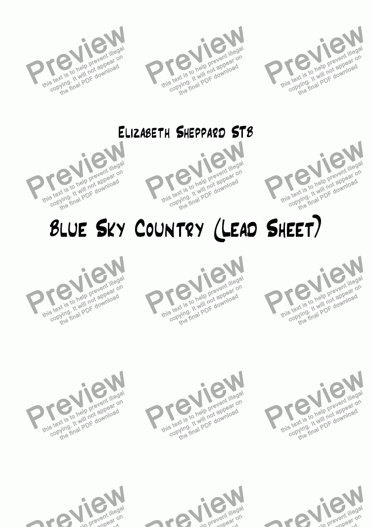 page one of Blue Sky Country (Lead Sheet)