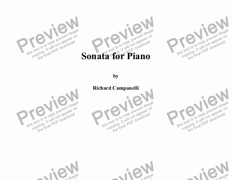 page one of Piano Sonata 1st Movement.