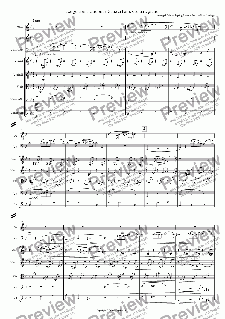 page one of Largo from Chopin's Cello Sonata arranged for cello, oboe, horn and strings