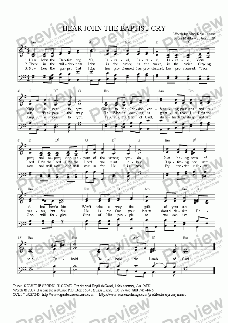 page one of Hear John the Baptist Cry (Hymn for Advent, John the Baptist, or Baptism of Jesus) NOW THE SPRING IS COME