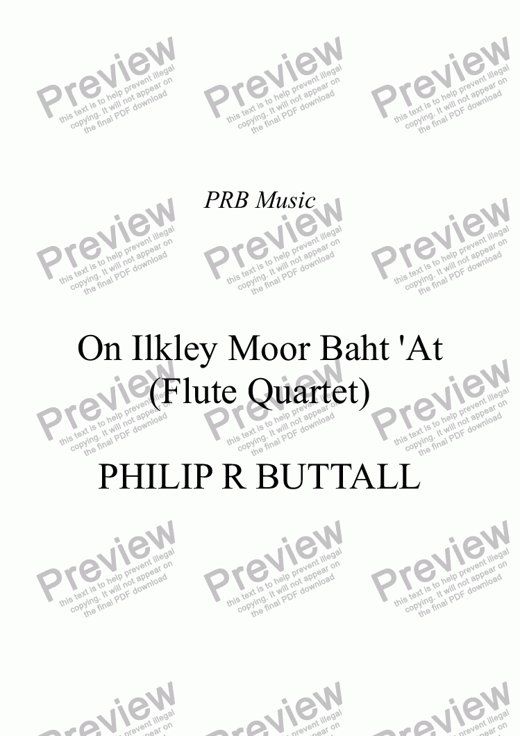 page one of On Ilkley Moor Baht 'At (Flute Quartet)