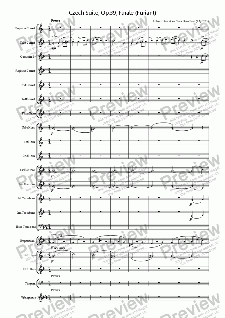 page one of BRASS BAND - Czech Suite, Op.39, Finale (Furiant)