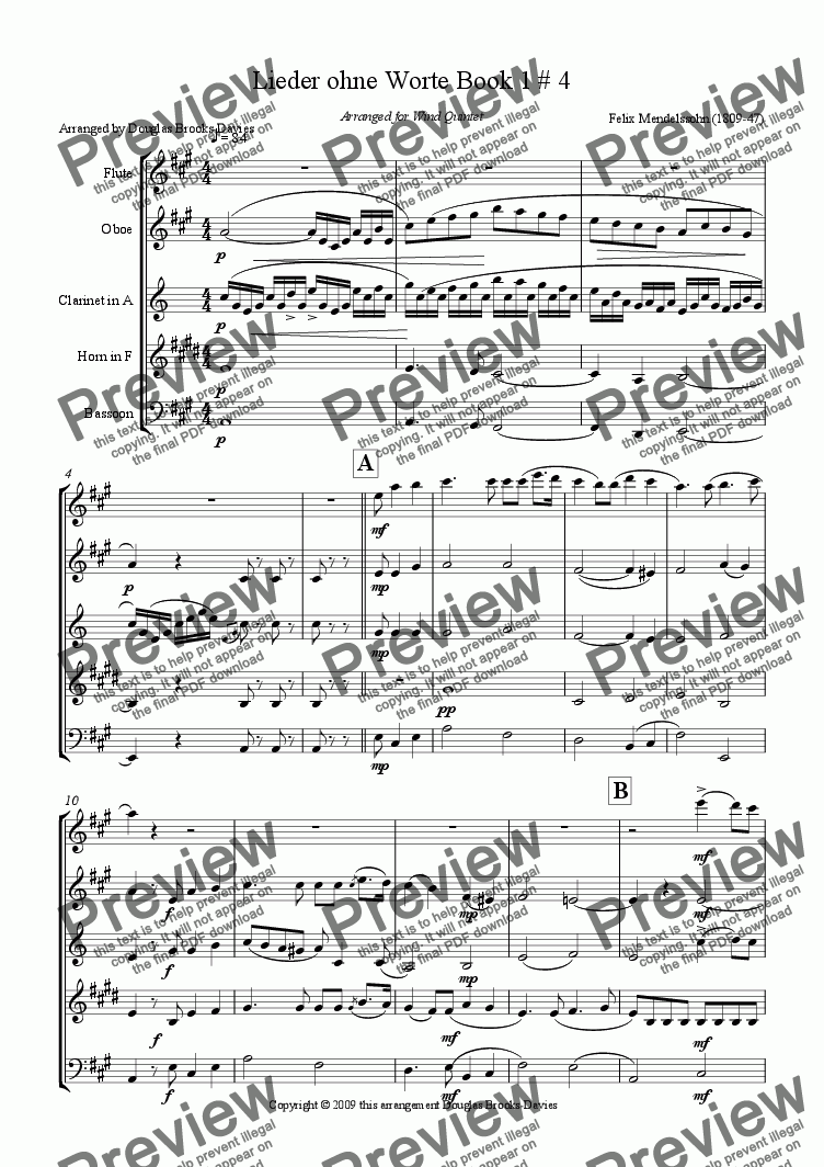 page one of Mendelssohn: Lieder ohne Worte Book 1, #4 in A for wind quintet