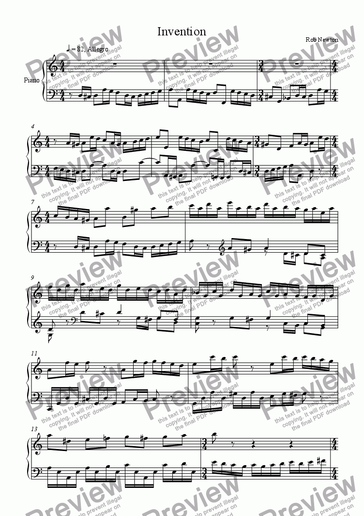 page one of Invention for Piano