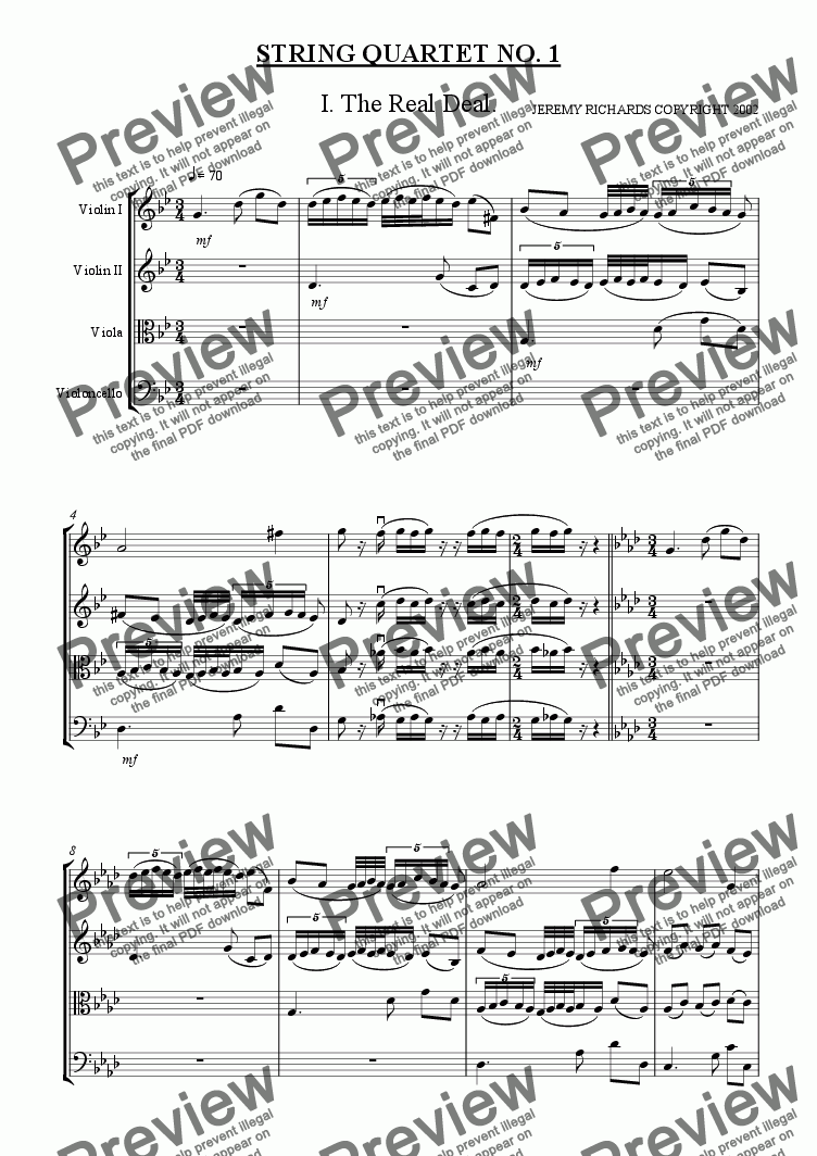 page one of String Quartet 1st Mvt