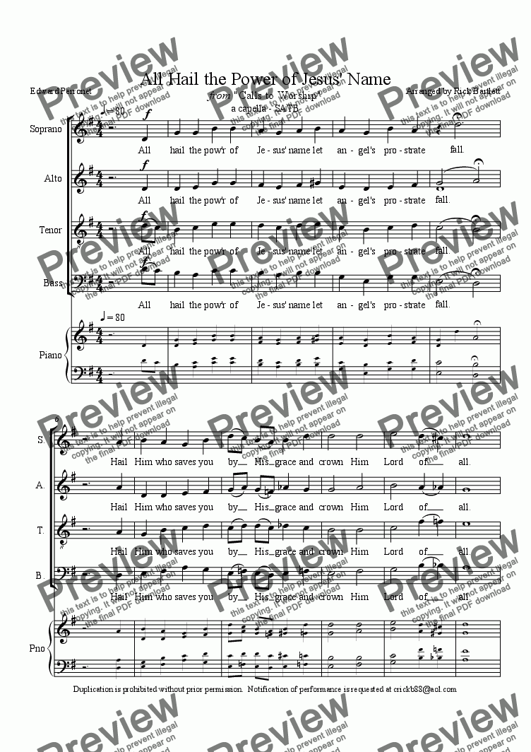 page one of All Hail The Power of Jesus' Name (Calls to Worship SATB)