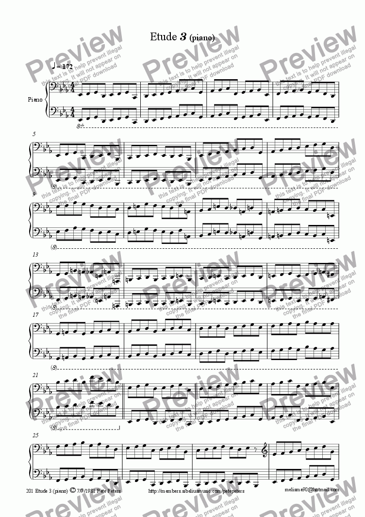 page one of Etude 3 (piano)ASALTTEXT