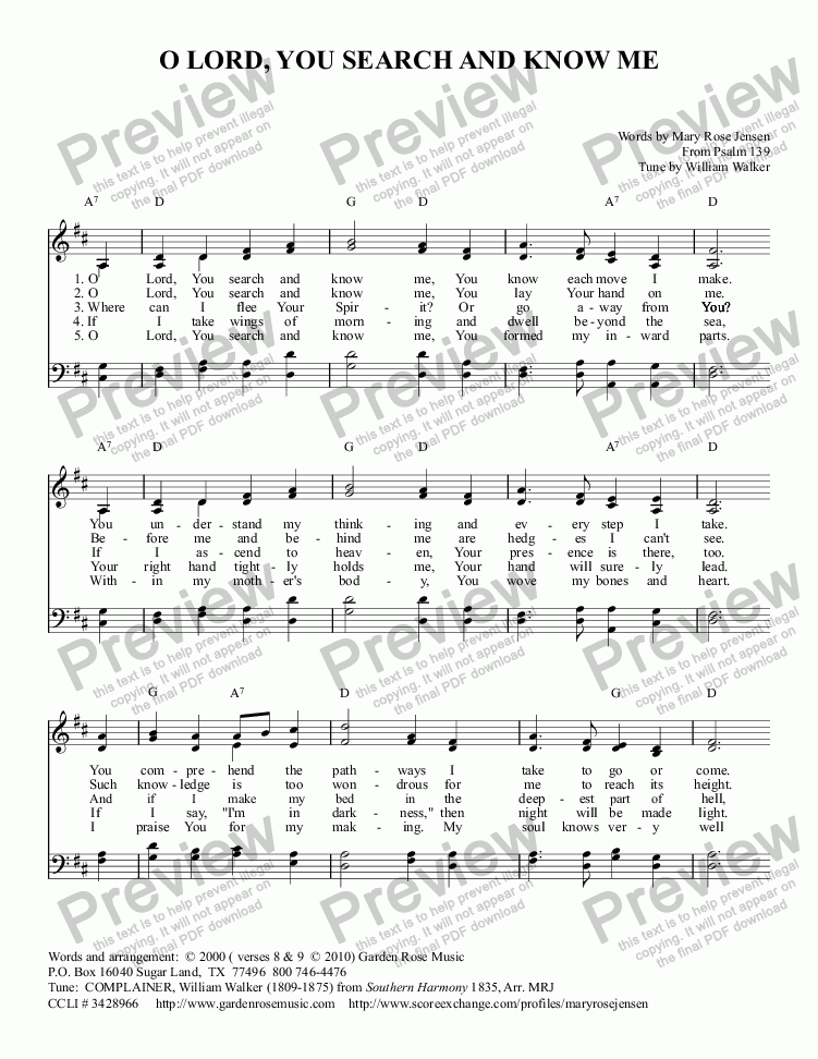 page one of O Lord, You Search and Know Me (metrical paraphrase of Psalm 139) COMPLAINER