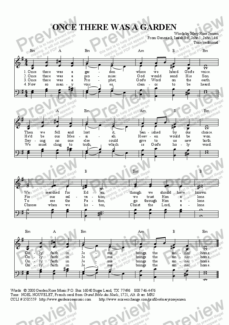 Once There Was A Garden Noel Nouvelet Advent Hymn Sheet Music Pdf