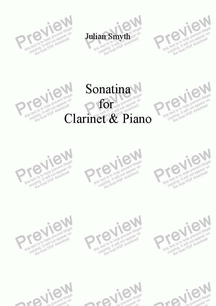 page one of Sonatina for Clarinet & Piano
