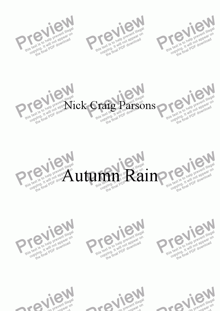 page one of Autumn Rain