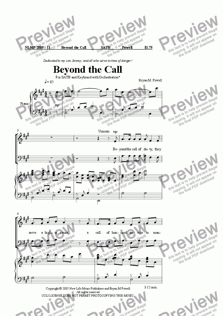 page one of Beyond the Call