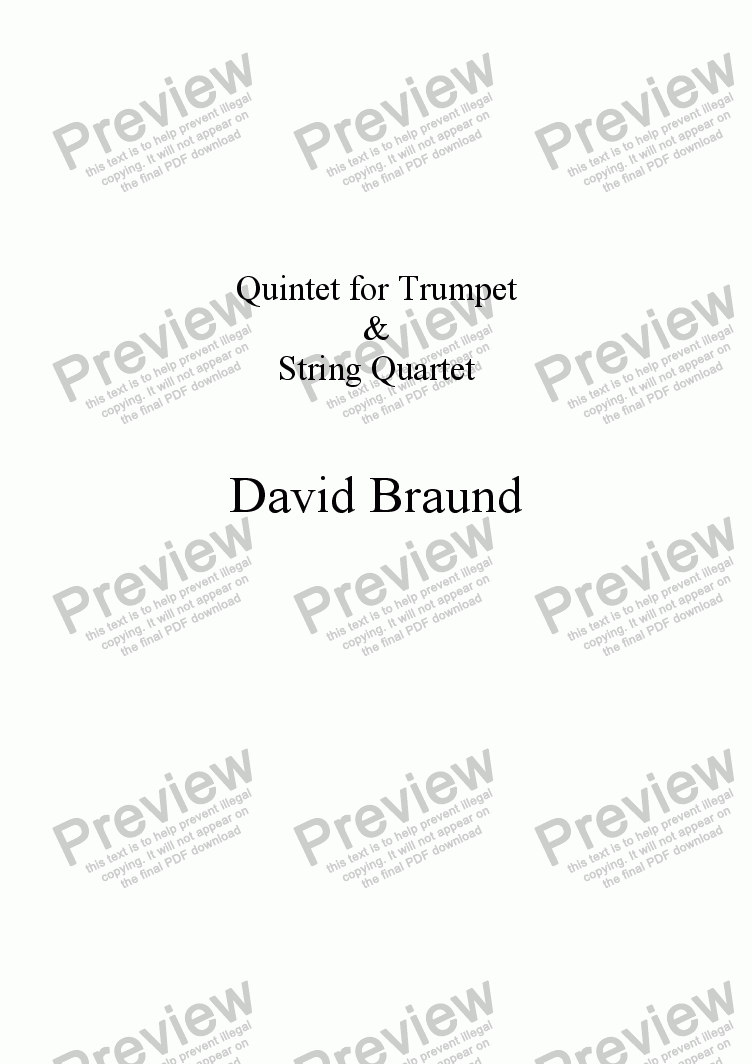 page one of Quintet for Trumpet & String Quartet
