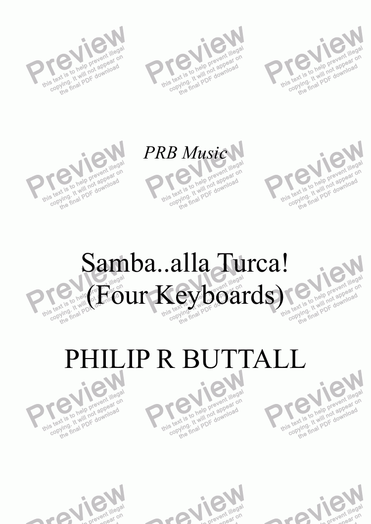 page one of Samba..alla Turca! (Four Keyboards)ASALTTEXT