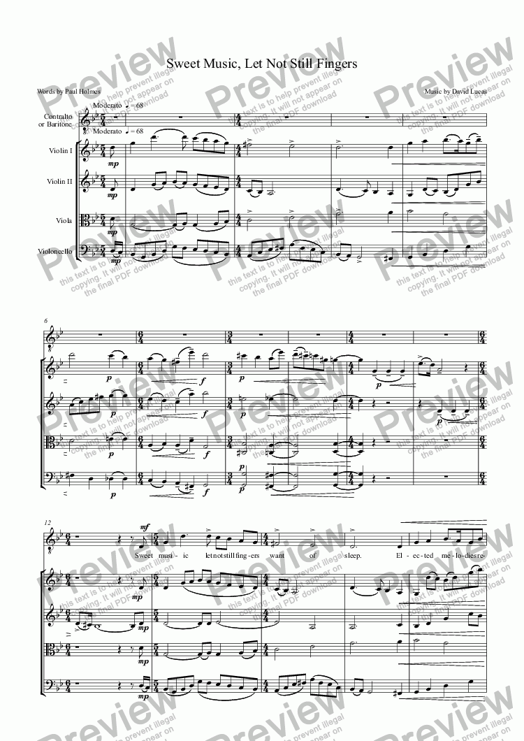 page one of Sweet Music, Let Not Still FingersASALTTEXT
