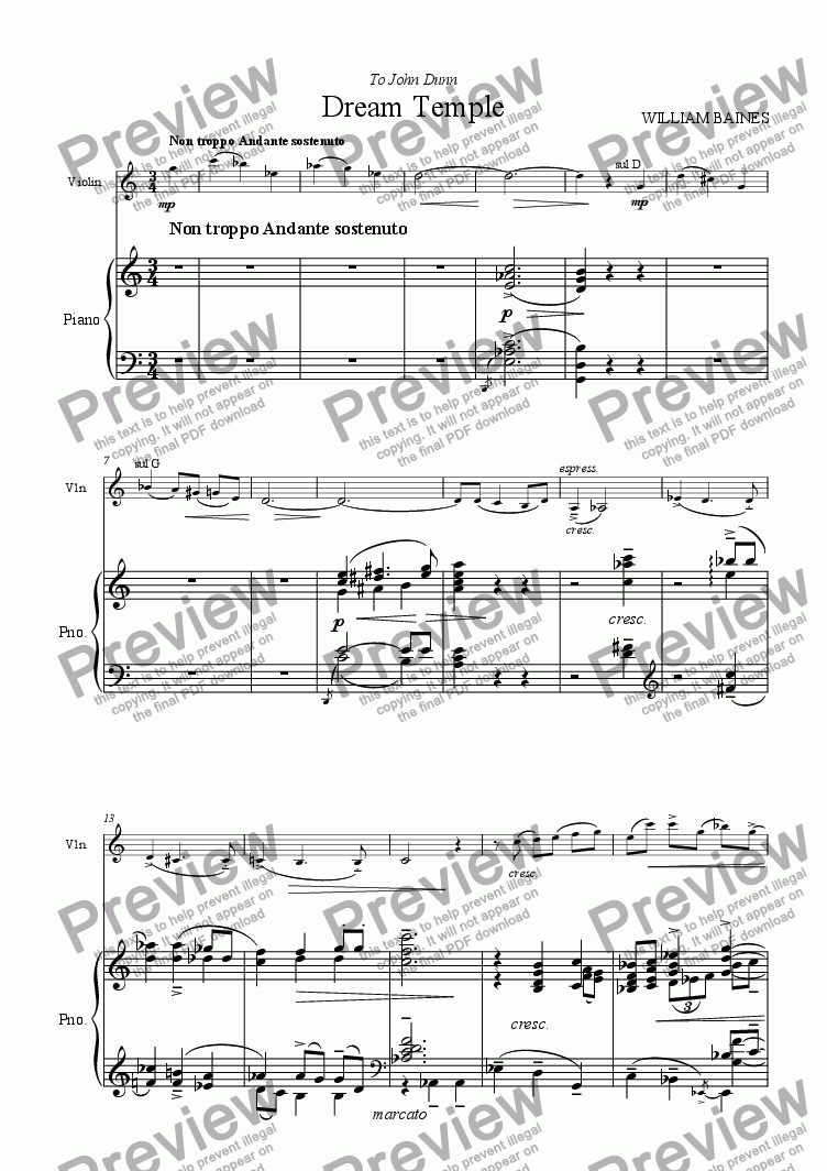 William Baines: Dream Temple for Solo Solo Violin + piano by WILLIAM BAINES  - Sheet Music PDF file to download