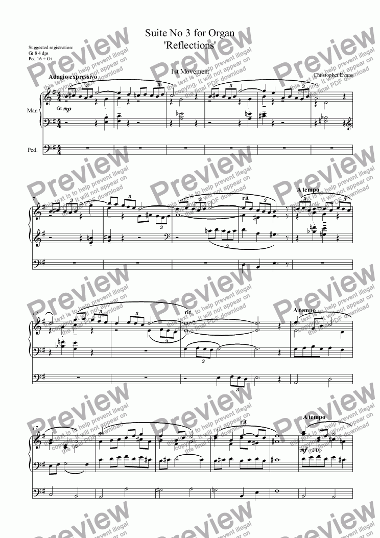 page one of Suite No 3 'Reflections' (Complete) for Organ