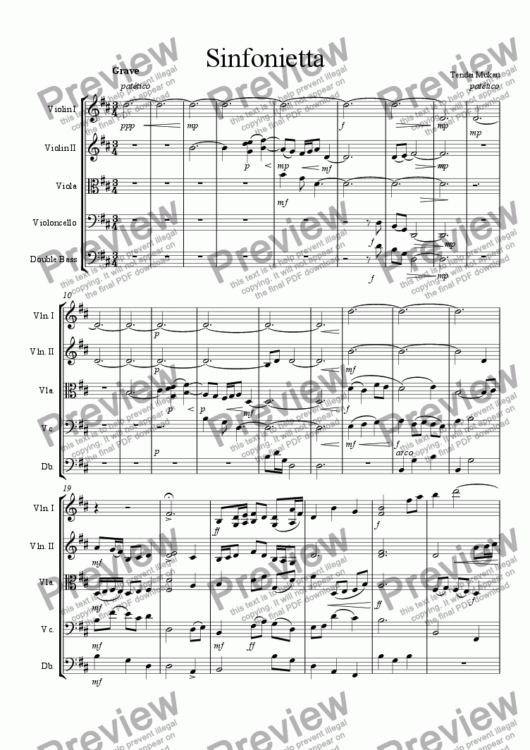 page one of Sinfonietta