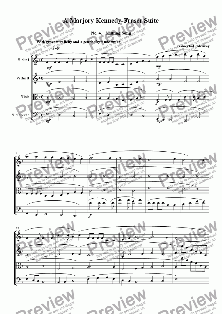page one of Milking Song