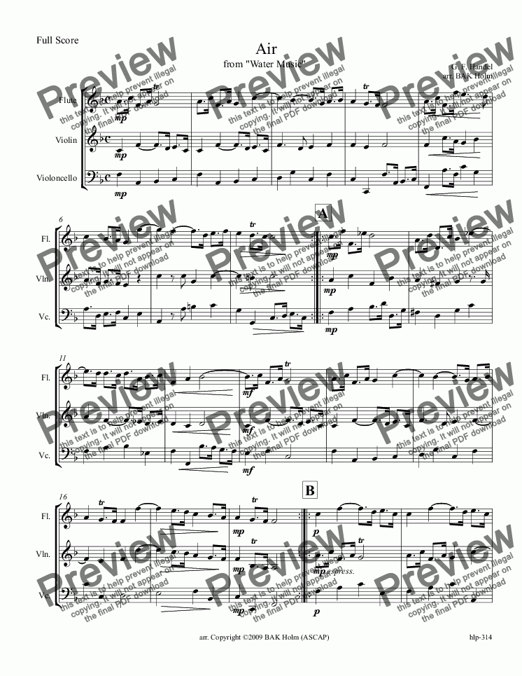 page one of Air from Water Music (flute,violin,cello)