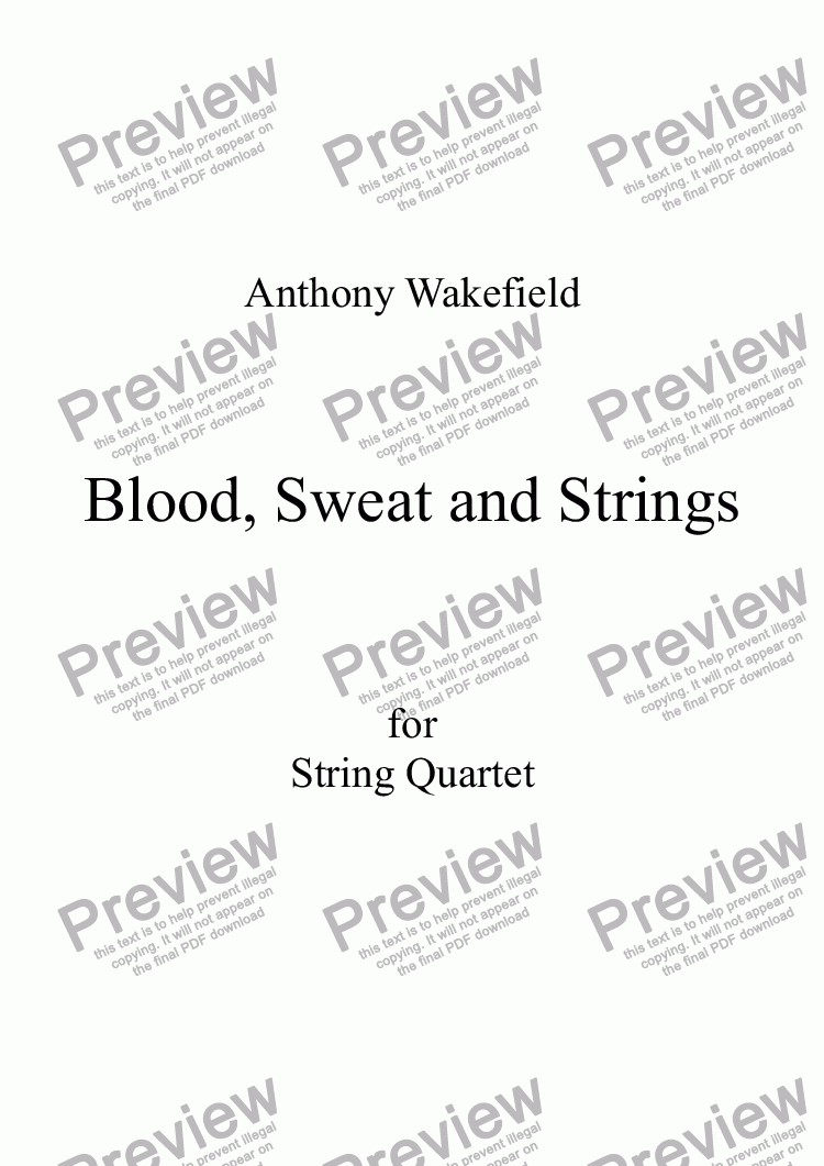 page one of Blood, Sweat and Strings