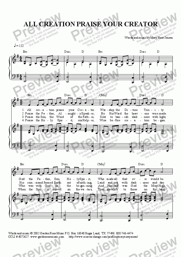 page one of All Creation Praise Your Creator - Contemporary (solo or unison)