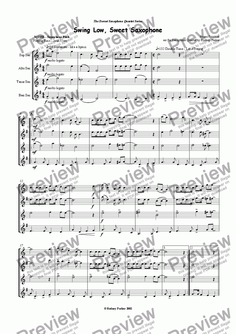 page one of Swing Low, Sweet Saxophone
