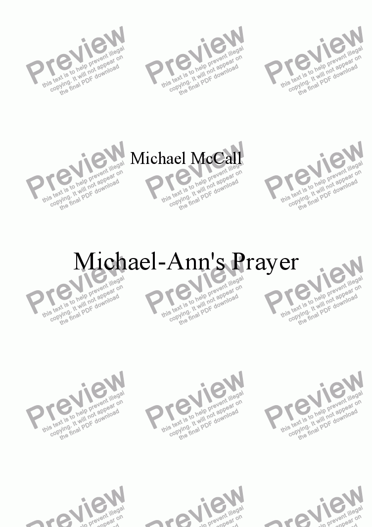 page one of Michael-Ann's Prayer